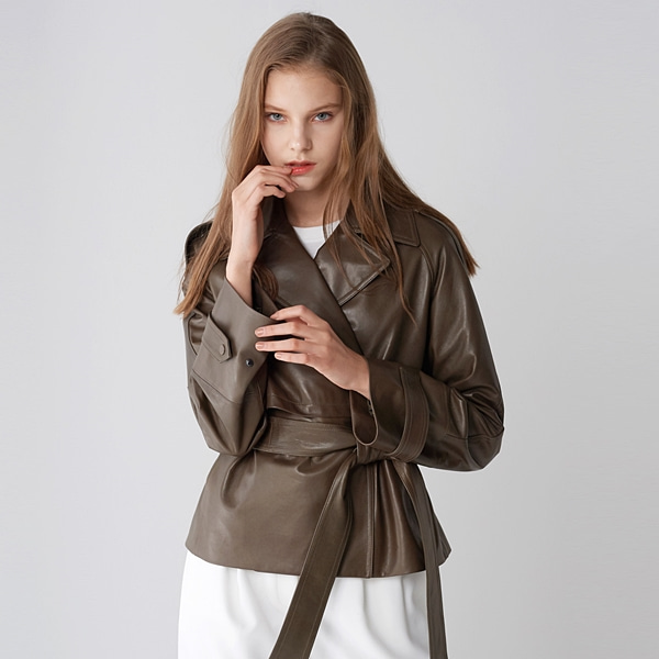 베지터블 트랜치 자켓 카키 VEGETABLE SKIN TRENCH JACKET KHAKI PINBLACK