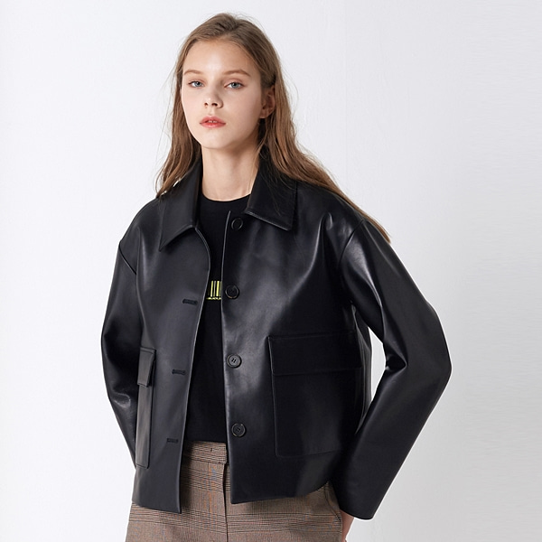 램스킨 크롭 포켓 자켓 블랙 LAMB SKIN CROP POCKET JACKET BLACK PINBLACK