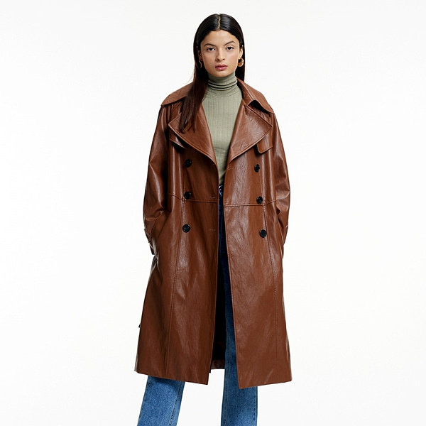 FAKE LEATHER OVERFIT TRENCH COAT CAMEL페이크 레더 오버핏 트렌치코트 카멜