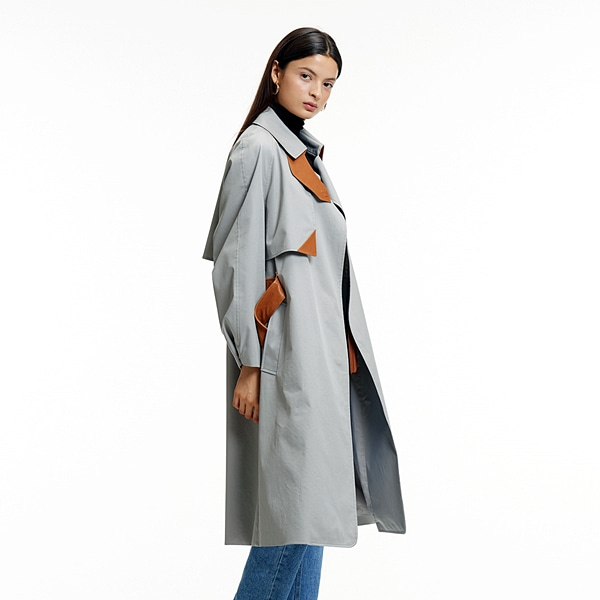 MULTI-COLOR TRENCH COAT GRAY멀티컬러 트렌치 코트 그레이